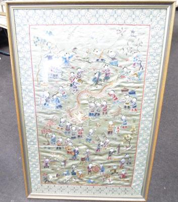 Chinese embroidery in frame