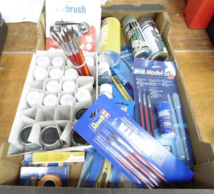 Box of model making equipment - all brand new and unused. Incl; airbrush & pressure can (ex shop stock)