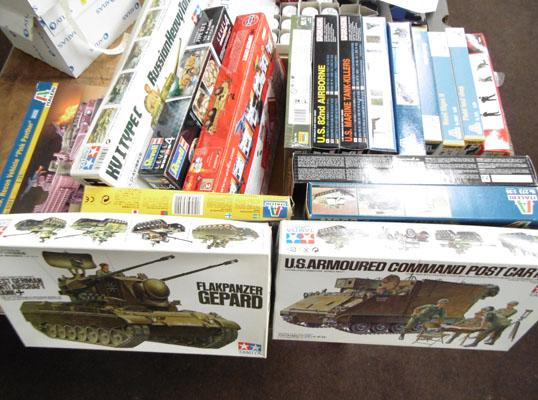 Box of military plastic kits - all complete.