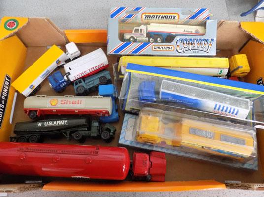 Box of diecast petrol tankers incl; matchbox