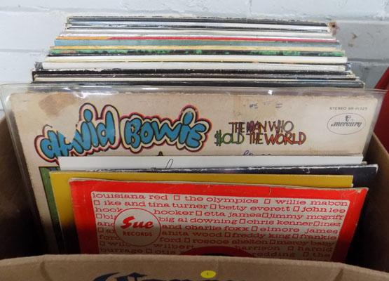 Box of LP records including Bowie, Rock etc.