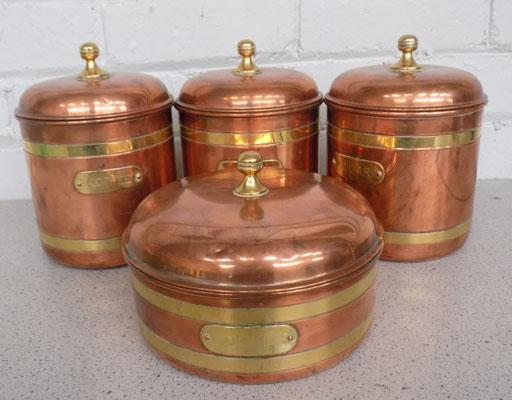 4 copper plated containers (kitchenware)