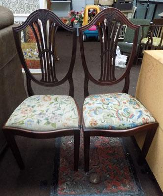 Pair of mahogany tapestry seated bedroom chairs