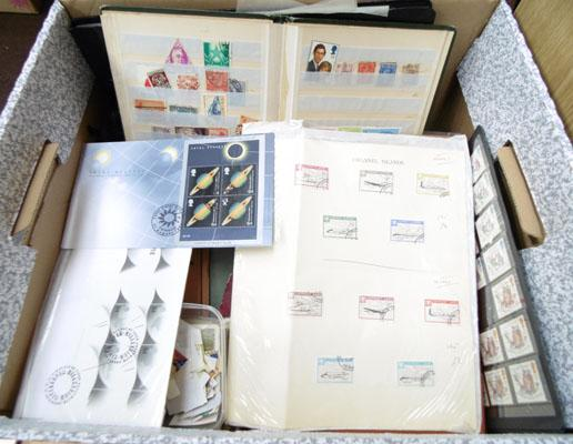 Large box of stamp albums etc