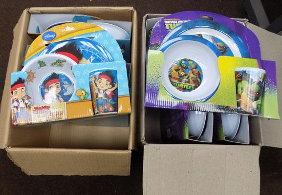 2 boxes of kids plate sets