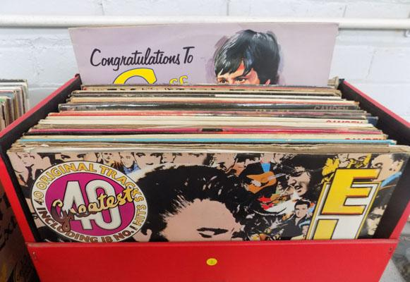 Record case of LPs - Rock N Roll, Elvis etc.