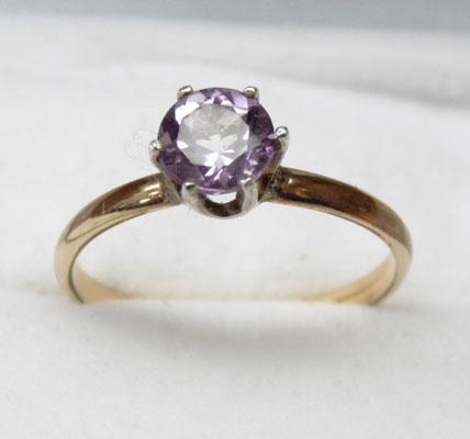 14ct Gold Amethyst solitaire ring size N1/2