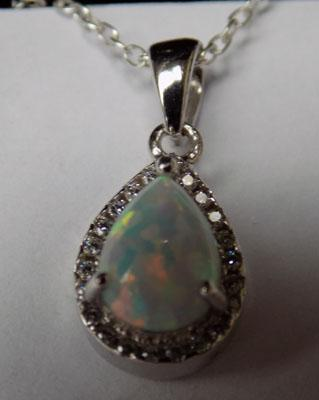Silver & opal pendant on silver chain