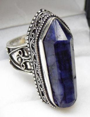925 Silver coffin shaped ring set with large Sapphire size P1/2