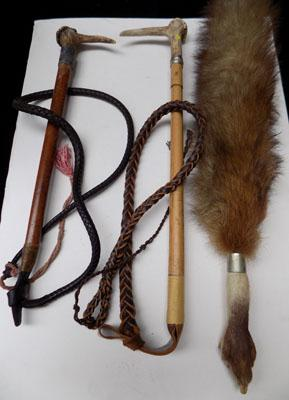 Fox tail brush & horn handle riding crop x2