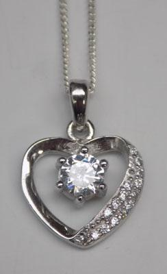 Sterling silver sparkling heart necklace