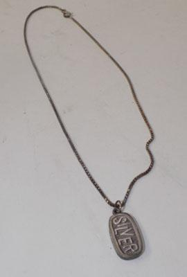 Sterling silver necklace with Ingot pendent 1/4 oz