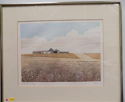 Sussex Barns Artists proof by P. Bisson
