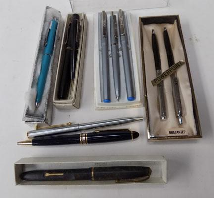 Selection of pens incl. Parker & Santorini with 14c nib