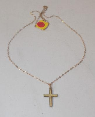 9ct gold necklace with 14ct rolled gold cross