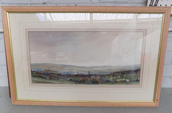 Original watercolour by J Butterfield of Bradford from Wibsey Beck. (Signed on the back)
