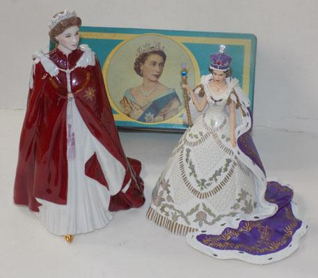 Royal Worcester Queen figure & one other figure + tin