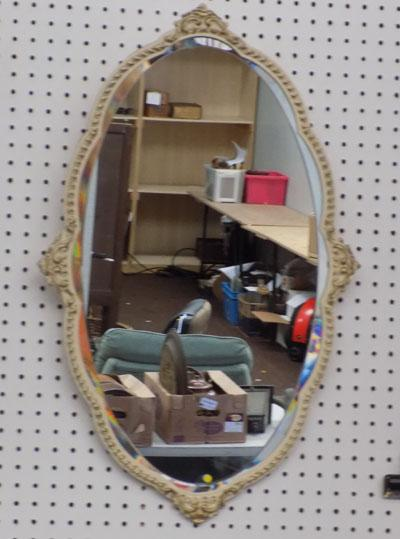 cream and gilt bevelled edge mirror
