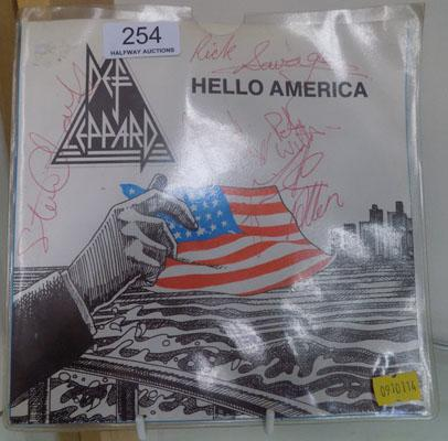 LP signed by the band-Def Leopard, Hello America