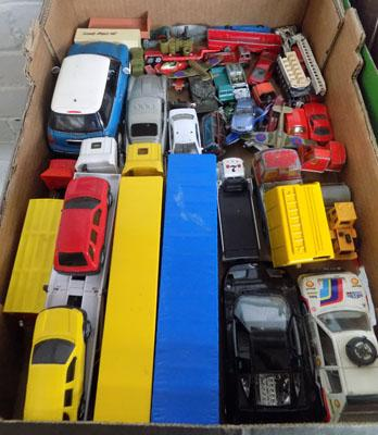 Box of diecast cars and commercial vehicles