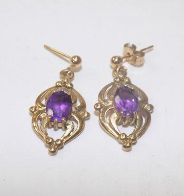 Pair of 9ct gold earrings with Amethyst stones