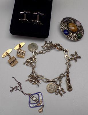 Selection of jewellery incl; Silver & enamel pendant with Chester hallmark