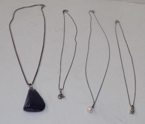 4 x sterling silver necklaces