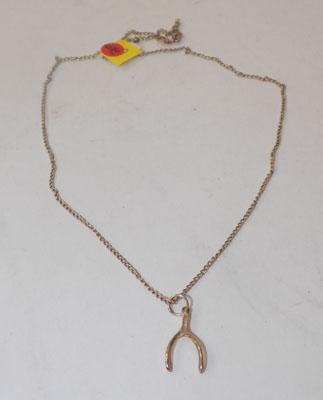 9ct gold wish bone necklace