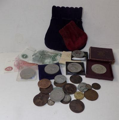 Selection of old bank notes and other money