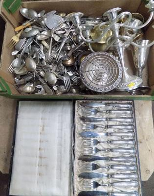 Large box of silver plate ware inc candlestick