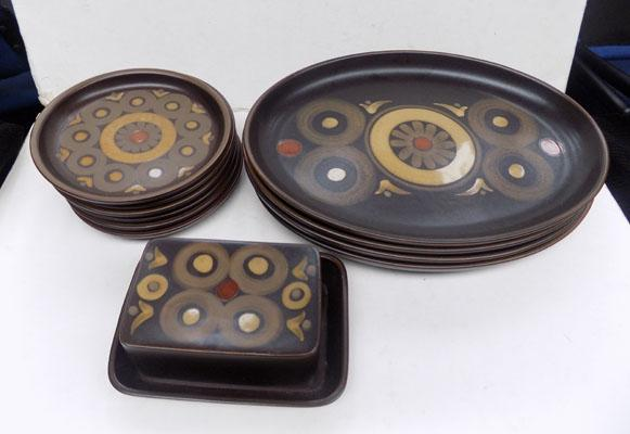 Denby 'Arabesque' 4 oval steak plates, 6 side plates and a butter dish