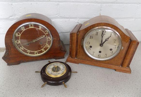 2 mantle clocks and a barometer