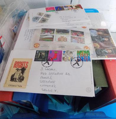 Box of stamps - large amount of First Day Covers & stamp albums