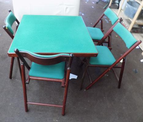 Card table & 4x folding chairs