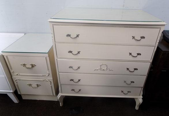Glass topped bedside unit & drawers