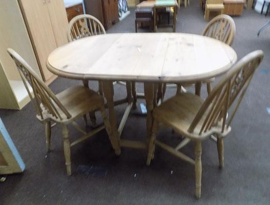 Pine table and 4 wheelback chairs