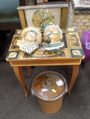Sewing table, clock and bossom heads