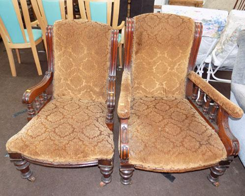 Pair of vintage His & hers chairs on casters