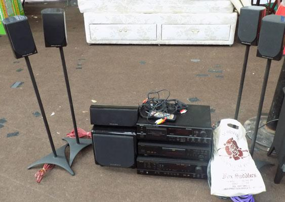 Denon sound system and speakers