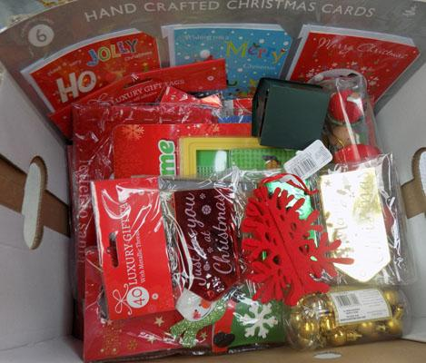 Box of assorted Christmas decorations