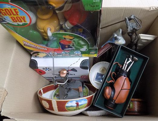 Large selection of golfing items incl: collectables
