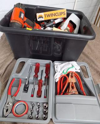 Tub of tools, incl. drill, sander & brand new car care kit