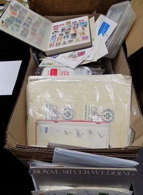 Box of stamps, albums etc...