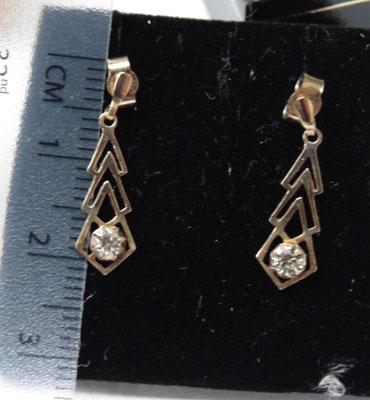 9ct gold and CZ drop earrings