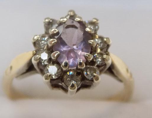 9ct gold ring with amethyst stone set in silver size M