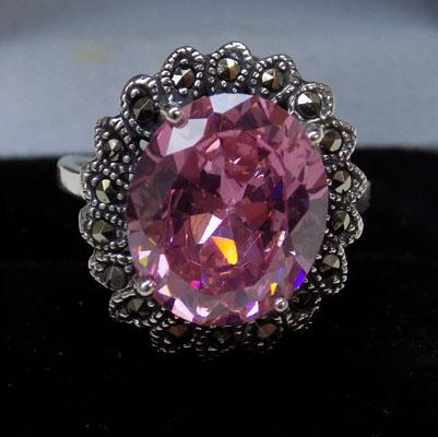 Silver pink Topaz & Marcasite ring