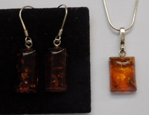 Sterling silver and amber necklace and matching earrings