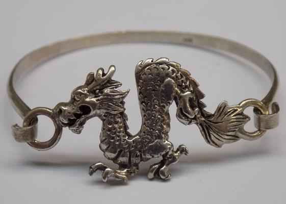 Sterling 925 silver dragon bangle - small size