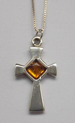 Sterling silver amber cross necklace