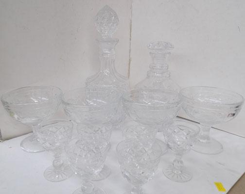 Two cut glass decanters + four desert bowls